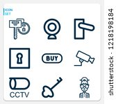 simple set of  9 outline icons... | Shutterstock .eps vector #1218198184