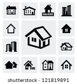vector black real estate set on ... | Shutterstock .eps vector #121819891
