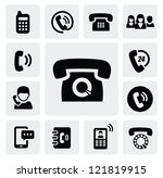 vector black phone icons set on ... | Shutterstock .eps vector #121819915