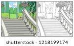 beautiful well kept palace park ... | Shutterstock .eps vector #1218199174
