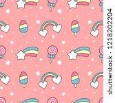 cute cartoon rainbow  comet ...   Shutterstock .eps vector #1218202204