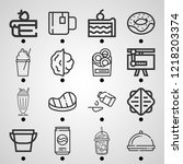 simple set of  16 outline icons ... | Shutterstock .eps vector #1218203374
