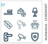 simple set of  9 outline icons... | Shutterstock .eps vector #1218204337
