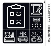 set of 6 message outline icons... | Shutterstock .eps vector #1218204964