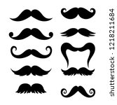 collection of mustaches | Shutterstock .eps vector #1218211684