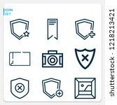 simple set of  9 outline icons... | Shutterstock .eps vector #1218213421