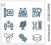 simple set of  9 outline icons... | Shutterstock .eps vector #1218215404