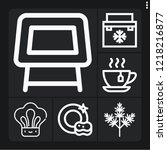 set of 6 kitchen outline icons... | Shutterstock .eps vector #1218216877