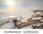 the frozen trees on snow coast... | Shutterstock . vector #121822321