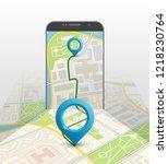 city map route navigation... | Shutterstock .eps vector #1218230764