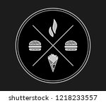 burgers and fries white on... | Shutterstock .eps vector #1218233557