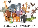 Stock vector group of cartoon animals vector illustration of funny happy animals 1218234187