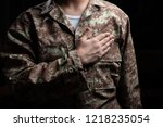 us army. young soldier with...   Shutterstock . vector #1218235054