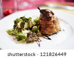 baked pear with gorgonzola and Salad - stock photo
