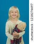 feeling playful. small girl... | Shutterstock . vector #1218276697