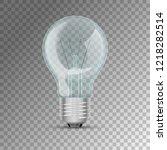 realistic lit light bulb | Shutterstock .eps vector #1218282514