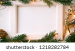 frame photo  pine branches ... | Shutterstock . vector #1218282784