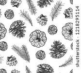 pine cones seamless pattern...   Shutterstock .eps vector #1218295114
