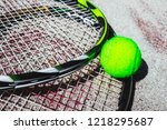tennis racket and a ball on the ... | Shutterstock . vector #1218295687