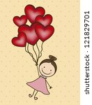 illustration of girl with... | Shutterstock .eps vector #121829701