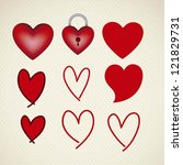 illustration of love icons with ... | Shutterstock .eps vector #121829731