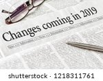 a newspaper with the headline... | Shutterstock . vector #1218311761