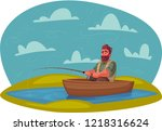 fisherman with fishing rod.... | Shutterstock . vector #1218316624