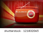 red vintage radio on retro... | Shutterstock .eps vector #121832065