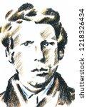 an young van gogh  a hand drawn ... | Shutterstock . vector #1218326434