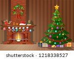 christmas interior of room with ... | Shutterstock .eps vector #1218338527