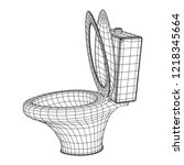 toilet bowl wireframe low poly... | Shutterstock .eps vector #1218345664