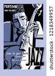jazz poster with double bass  ... | Shutterstock .eps vector #1218349957