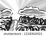 the sunshine through clouds | Shutterstock . vector #1218363421