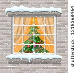 christmas window in brick wall. ... | Shutterstock . vector #1218368464