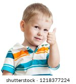 little child boy giving you... | Shutterstock . vector #1218377224