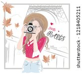 photographer girl and paris... | Shutterstock .eps vector #1218405211