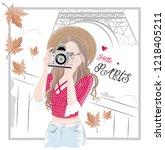 photographer girl and paris... | Shutterstock .eps vector #1218405211