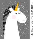 greeting card with unicorn face | Shutterstock .eps vector #1218411811