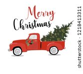 merry christmas greeting card... | Shutterstock .eps vector #1218413311