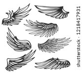 vintage wings set isolated on... | Shutterstock .eps vector #1218417931