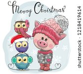 greeting christmas card cute... | Shutterstock .eps vector #1218419614