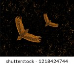 vintage postcard with flying... | Shutterstock .eps vector #1218424744