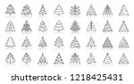christmas tree thin line icon... | Shutterstock .eps vector #1218425431