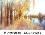 glass wet autumn background ... | Shutterstock . vector #1218434251