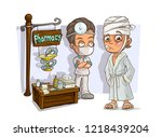cartoon doctor in mask with... | Shutterstock .eps vector #1218439204