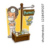 cartoon doctor in mask with... | Shutterstock .eps vector #1218439207