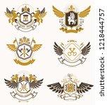 heraldic coat of arms created... | Shutterstock .eps vector #1218444757