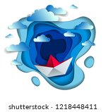 origami paper ship toy swimming ... | Shutterstock .eps vector #1218448411