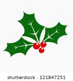 holly berry   three leaves and... | Shutterstock .eps vector #121847251