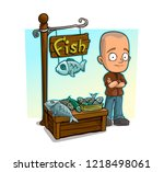 cartoon bald boy character and... | Shutterstock .eps vector #1218498061